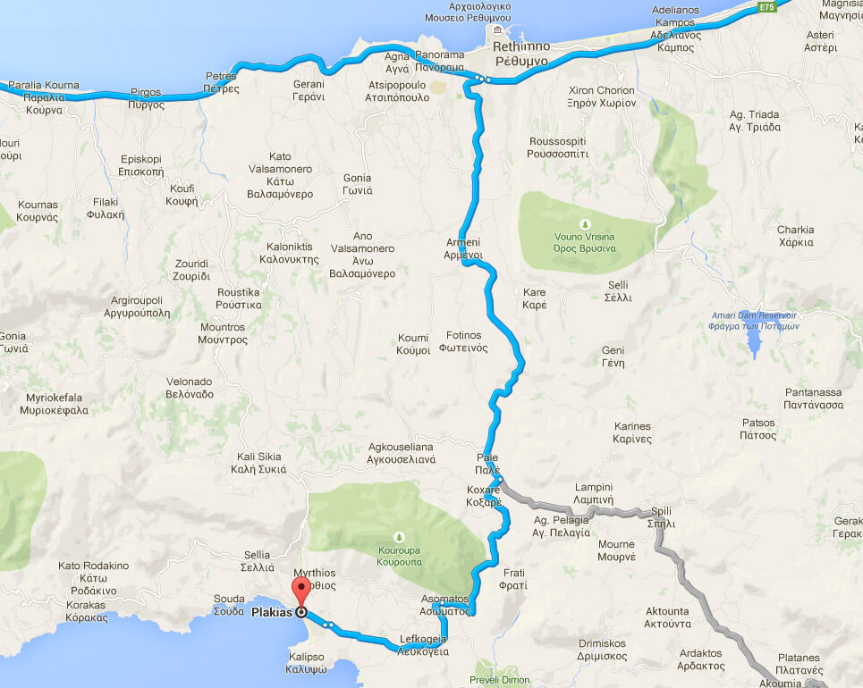 Manolis Apartments - Plakias, Crete - Directions Map